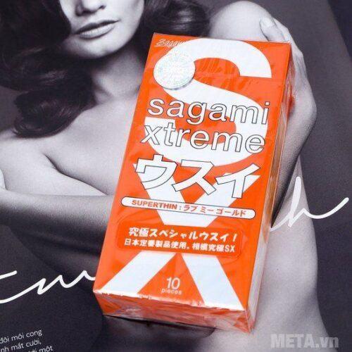 Bao Cao Su Sagami Extreme Love Me Gold Orange – Hộp 10c