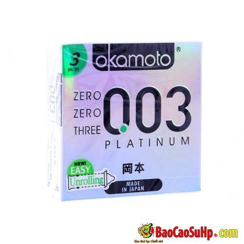 Bao cao su Okamoto Platinum 0.03 Nhật Bản Siêu mỏng cao cấp