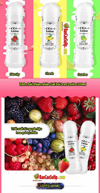 20181003225935 1064376 gel boi tron lotito 300ml 3in huong trai cay 2 - Gel bôi trơn 3in1 Nhật Bản Lotion cao cấp hương trái cây 300ml