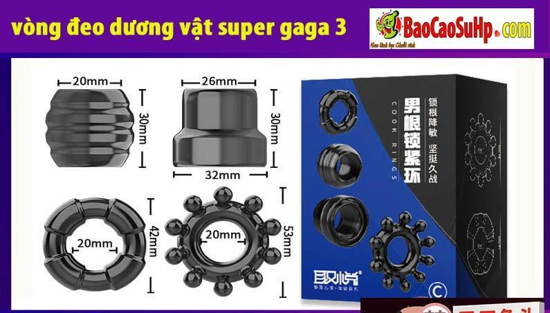 20190508211150 3556157 vong deo duong vat super gaga 8 - Bộ vòng đeo dương vật Super Gaga 3 mầu