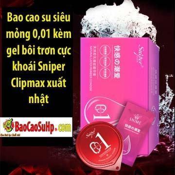 Bao cao su siêu mỏng 0,01 kèm gel bôi trơn cực khoái Sniper Clipmax xuất nhật