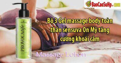 Bộ 3 Gel massage body toàn thân sensuva On Mỹ tăng cường khoái cảm