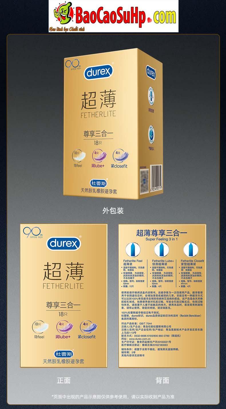 Durex Prenium Fetherlite Prenium 12 - Bao cao su Durex Prenium Fetherlite 18c Mix 3 loại siêu mỏng!!!