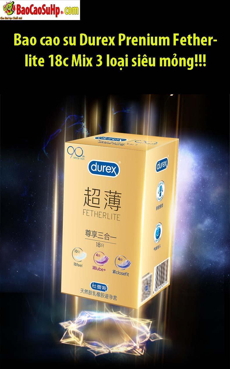 Durex Prenium Fetherlite Prenium 4 - Bao cao su Durex Prenium Fetherlite 18c Mix 3 loại siêu mỏng!!!