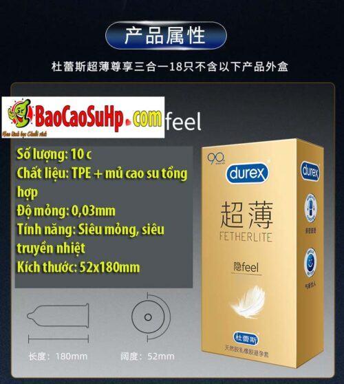Bao cao su Durex Prenium Fetherlite 18c Mix 3 loại siêu mỏng!!!
